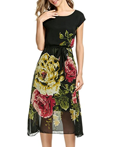 OURS Women Short Sleeve Chiffon Flower Swing Party Cocktail Dress With Belt (XL, Black 2)