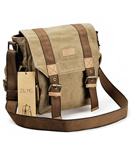 Canvas Messenger Bag ZLYC Vintange Shoulder Bag Military Cro