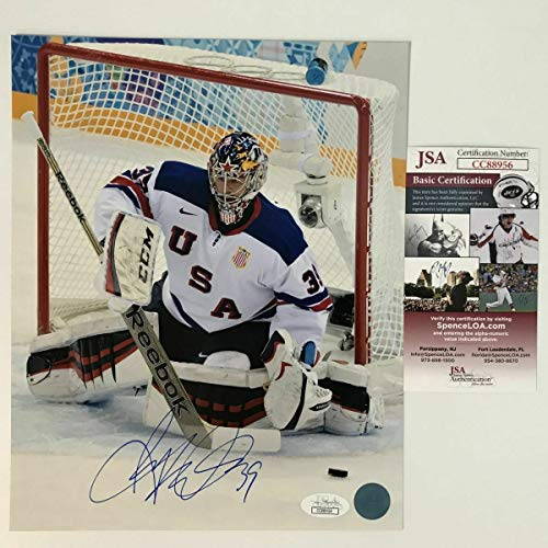 (Autographed Signed Memorabilia Ryan Miller United States Olympic 8x10 Hockey Photo - JSA Authentic)