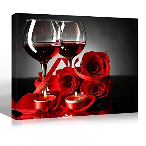 Purple Verbena Art Canvas Print Art of Red Wine Rose and Candle Picture Painting Wall Art Modern Art Photo for Home Living Room Bedroom Decoration Gifts Artwork Wall Décor,Framed 12x16 - Framed Roses Red