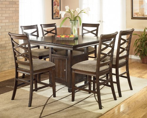 Dark Brown Square Dining Room Counter Table by Ashley Furniture