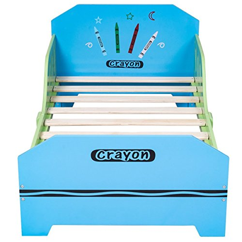 COLIBROX Crayon Themed Wood Kids Bed with Bed Rails for Toddlers and Children Colorful. solid wood children's bedroom furniture. wooden toddler bed with drawer. non toxic twin bed. by COLIBROX (Image #2)