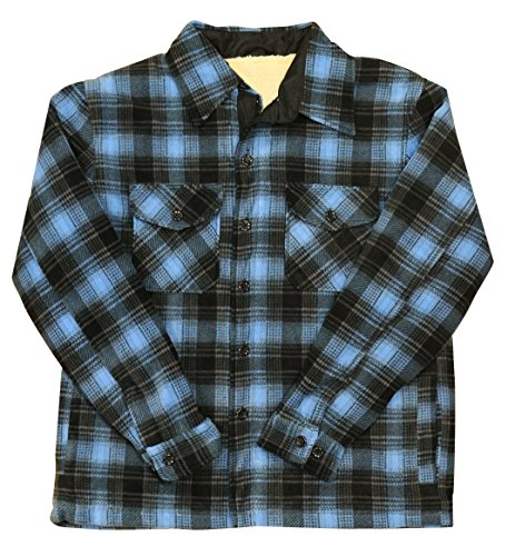 Woodland Supply Co. Men's Heavy Warm Fleece Sherpa Lined Zip Up Jacket (Large, Blue Ombre)