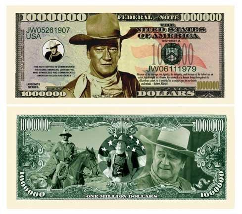 John Wayne Million Dollar Bill With Bill Protector