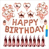 Birthday Party Supplies, VOGEK Birthday Decorations Rose Gold Balloon Banner for Birthday Party Decoration, Wedding Decorations and Proposal