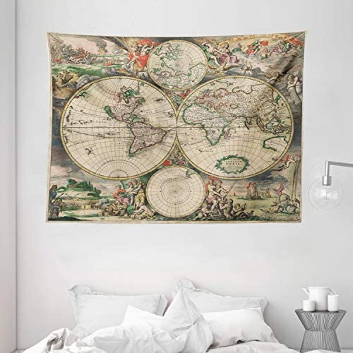 Ambesonne Vintage Tapestry, Antique Old Aged Map of The World Historical Geography Theme Retro Design, Wide Wall Hanging for Bedroom Living Room Dorm, 80 X 60 , Soft Beige