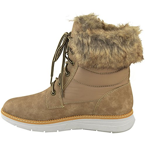 Brown Ankle Womens Fashion Ski Light Casual Fur Ladies Suede Size Faux Snow Mocha Flat Boots Faux Thirsty Skaters Fur Faux Winter 055qa