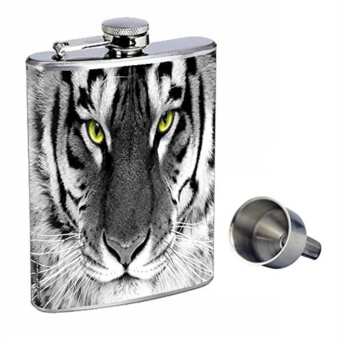 Perfection Inスタイル8オンスステンレススチールWhiskey Flask with Free Funnel Tigers design-010   B0181MP35K
