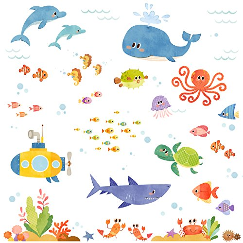 Decowall DW-1611S Sea Adventure Kids Wall Stickers Wall Decals Peel and Stick Removable Wall Stickers for Kids Nursery Bedroom Living Room - Kid Drawn Stickers