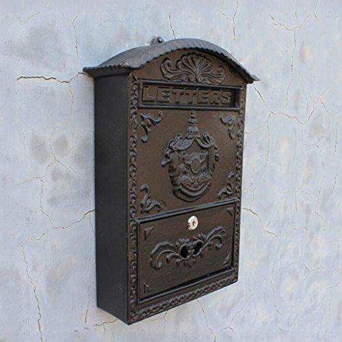 C.K.H. European Courtyard Villa Home Decoration Black Wall Type Angel Cast Iron Letter Box Mailbox