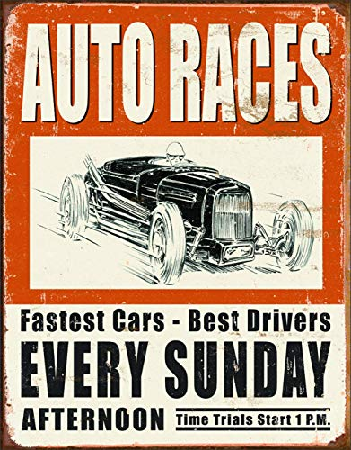 Specialove Eletina Vintage Metal Decorative Sign - Auto Races, 12