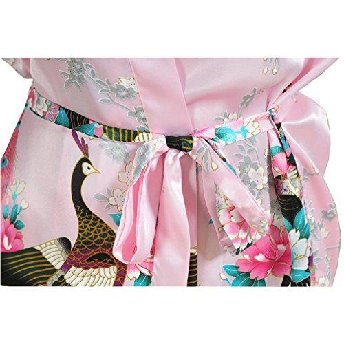 Pavone Allattamento Accappatoi Rosa Pigiami Donna Notte e e Kimono Raso WYSMOL Camicie da Vestaglie CHxTq56Z