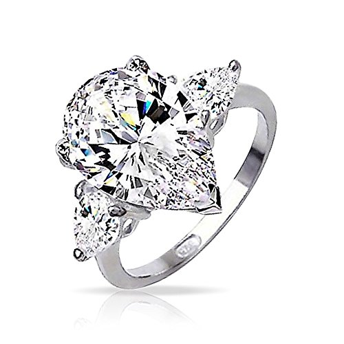 Sterling Silver Classic 3 Stone Pear CZ Engagement Ring by Bling Jewelry