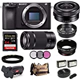 Sony Alpha a6500 Digital Camera w/Sony SELP1650 16-50mm Power Zoom Lens & SEL55210B E 55-210mm Zoom 64GB Kit