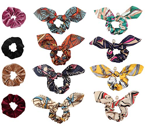 (4 Pcs Hair Scrunchies Velvet Elastic Hair Bands and 8 Pcs Soft Bow Scrunchies for Hair Chiffon Bunny Rabbits Ears Elastic Ponytail Holder Accessories for Women and Girls)