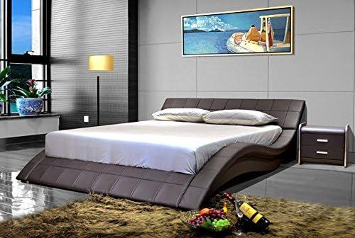 Greatime B1041-1 Wave-Like Shape Leatherette Platform Bed Eastern King