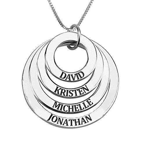 510 Families Christmas Trees - Ouslier 925 Sterling Silver Personalized Four Discs Names Necklace Pendant Custom Made with 4 Names (Silver)