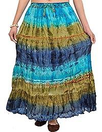Exotic India Batik-Dyed Tri-Colored Long Elastic Skirt - Blue