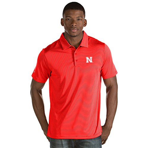 Polo Striped Shirt Antigua - University of Nebraska Men's Quest Polo Shirt (Medium)