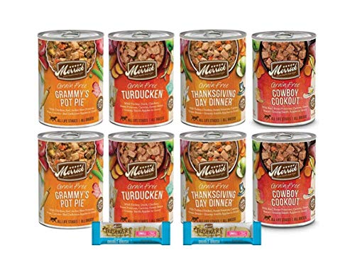 Merrick Grain Free Dog Food-Variety Bundle - 4 Flavors 8 cans Plus1 Lid 2 Dental Chews 1 Dog Toy