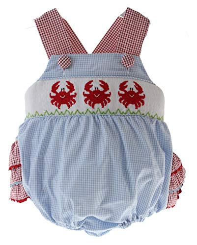 Baby Girls Sunsuit Crab Smocking Summer Bubble Outfit Criss Cross Shoulder Straps 9M Blue