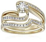 10k Yellow Gold Diamond Swirl Bridal Wedding Ring Set (5/8cttw, I Color, I2 I3 Clarity), Size 7