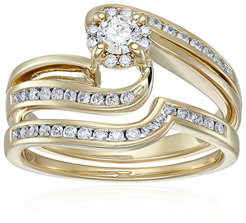 10k Yellow Gold Diamond Swirl Bridal Wedding Ring Set (5/8cttw, I Color, I2 I3 Clarity), Size 7 Yellow Gold Swirl Ring