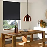 Cordless Roller Shades, 31W x 67H , Reminiscent Blackout Black