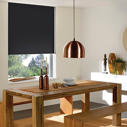 Windowsandgarden Cordless Roller Shades Any Size 19-96 Wide, 60W x 48H, Reminiscent Blackout Black