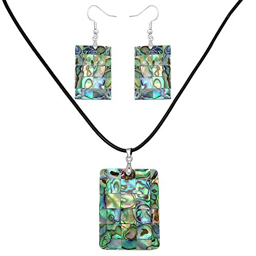Falari Green Abalone Shell Necklace Earring Set (Rectangle 2) S0100