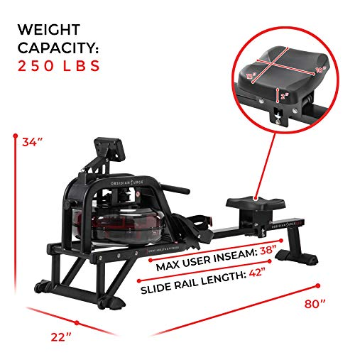 Sunny Health & Fitness Water Rowing Machine Rower + LCD Monitor: Time, Time/500M, Distance, Strokes, Total Strokes, Calories Burned and Scan with 250 LB Max Weight - Obsidian SF-RW5713