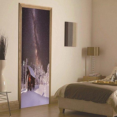 LWCX Christmas Night Bedroom Door Stickers Wood Adhesive by LWCX