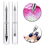 Rhinestone Picker Dotting Pen, Ginfonr Dual Ended Diamond Painting Nail Art DIY Wax Tip Pencil Drills Beads Pearls Gems Stones Applicator Crystal Studs Manicure Tool with Storage Box 2Pack Black&White