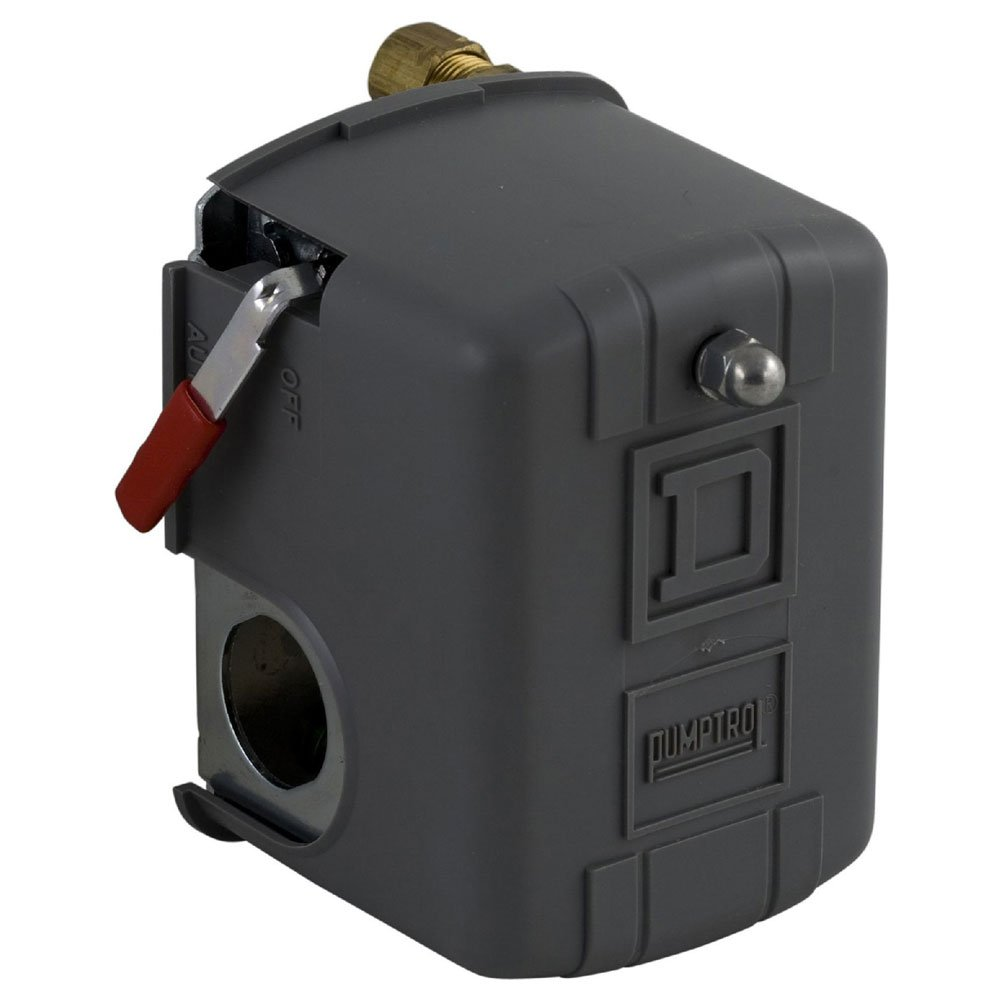 Square D by Schneider Electric 9013FHG12J39M1 Air-Compressor Pressure Switch, 135 psi Set Off, 30 psi Fixed Differential, 1/4'' NPSF Internal, Auto/Off Cut-Out Lever