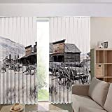 Bedroom/Living Room/Kids/Youth Room Curtain Panels,Drapes for Dining Room,Country Style,from 20s in Ghost Town Antique Wyoming Wheels 84Wx84L Inch