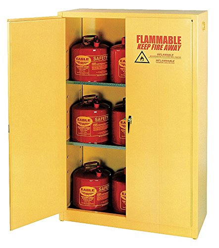 Flammable Liquid Storage Cabinet (Eagle 1947 Safety Cabinet for Flammable Liquids, 2 Door Manual Close, 45 gallon, 65