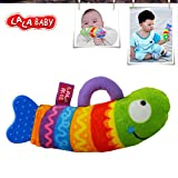 LALABABY Rainbow Fish Teether Rattles Cloth Early Education Toy for Over 0-1 Years