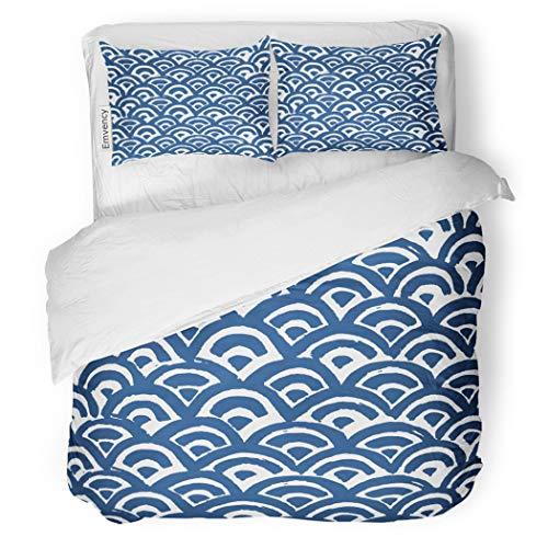 SanChic Duvet Cover Set Watercolor Sea Waves Batik Indigo Shibori Japanese Decorative Bedding Set with 2 Pillow Cases Full/Queen Size ()