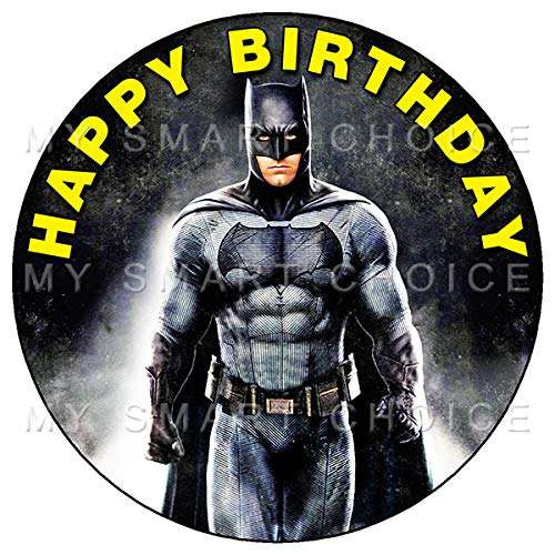 7.5 Inch Edible Cake Toppers - BATMAN BEN AFFLECK PARTY Themed Birthday Party Collection of Edible Cake Decorations (Ben Affleck Best Batman)