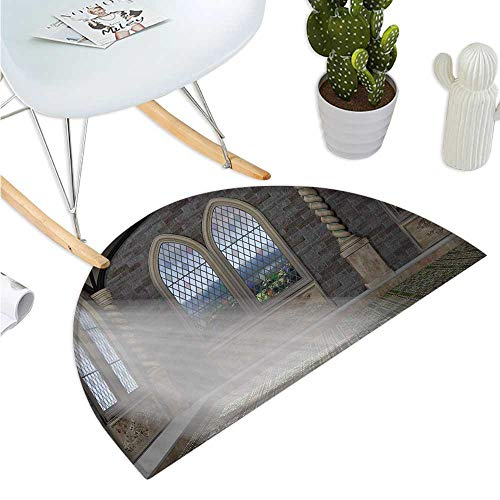 Fantasy Semicircle Doormat Crepuscular Rays Streaming Through Stained Glass Window Ancient Palace Castle Halfmoon doormats H 35.4