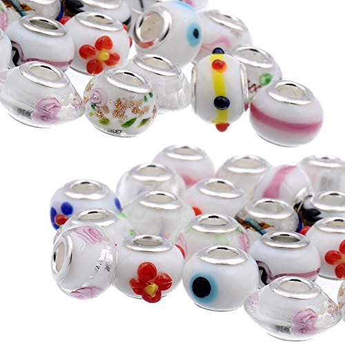 (RUBYCA Mix White Murano Lampwork Glass Bead Rondelle European Charm Bracelet Silver Color)