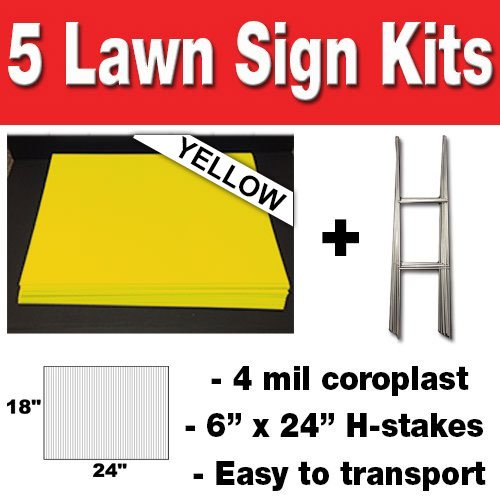 Lawn Sign Holders (YELLOW Box of 5 quanity Blank Yard Signs 18x24 with h-stakes for Garage Sales Signs, Graduations, or Political Lawn)