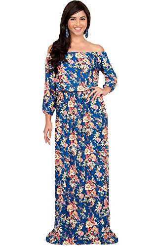 Gown Jersey Sleeve (KOH KOH Women Long Off Shoulder Summer Floral Print Cute Boho Long 3/4 Sleeve Hawaiian Beach Jersey Sundress Casual Gown Gowns Maxi Dress Dresses, Royal Blue and Yellow M 8-10)