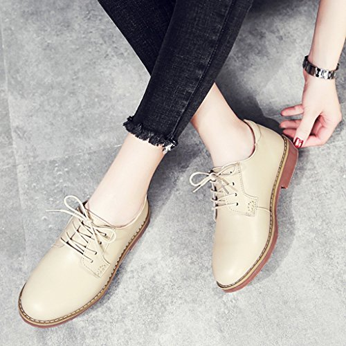 HWF größe einzelne beiläufige Art Frühlings flache Frau Lederschuhe Farbe B Schuhe 39 College Frauen Retro Damenschuhe britische ZxArZF