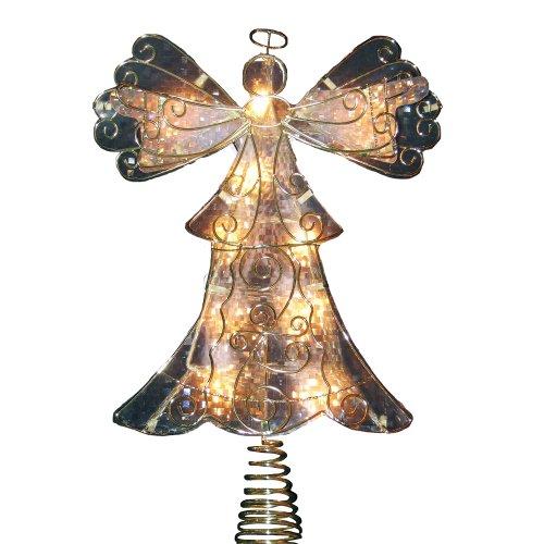 Kurt Adler UL 10-Light Metal Reflector Angel Christmas Treetop Figurine, 10-Inch