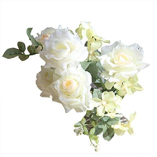 Ktyssp Artificial Silk Fake Flowers Roses Floral Wedding Bouquet Bridal Decor (A)