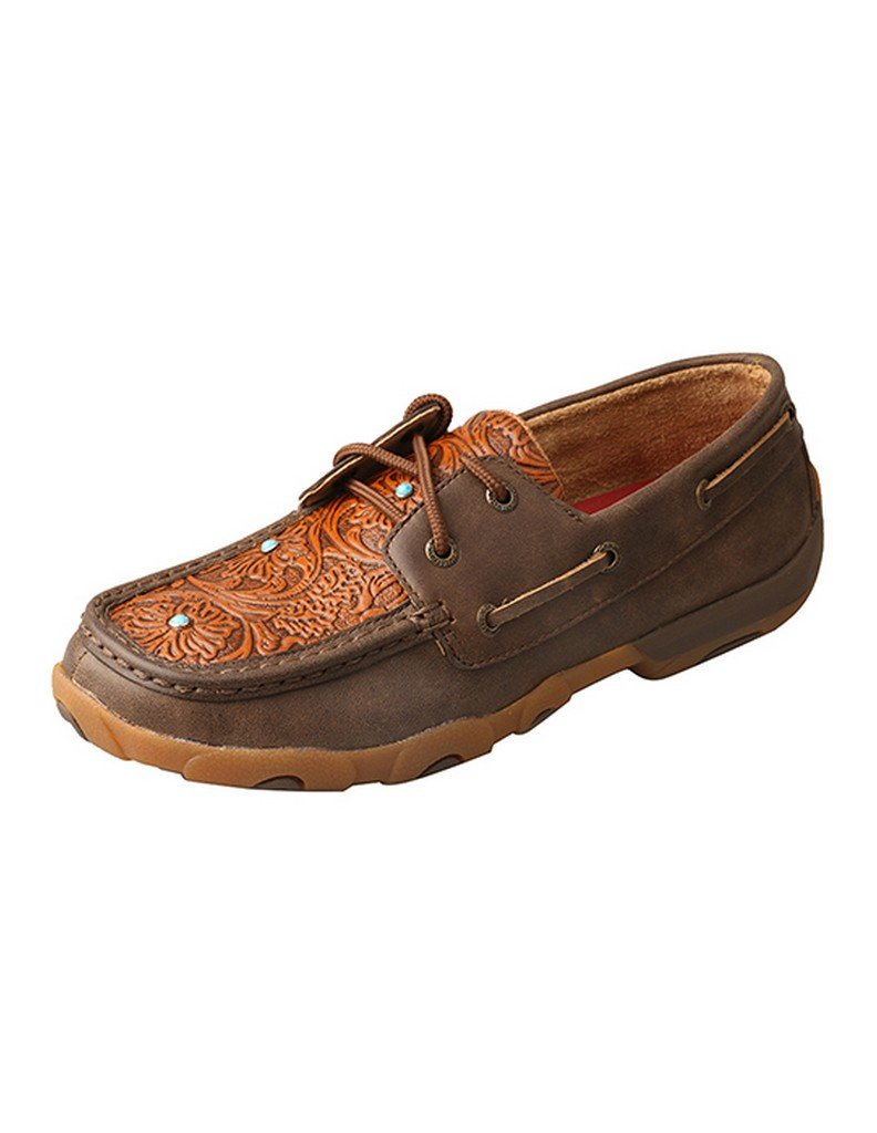Twisted X Women's Floral Tooled Lace Up Driving Mocs Moc Toe Brown 8.5 M