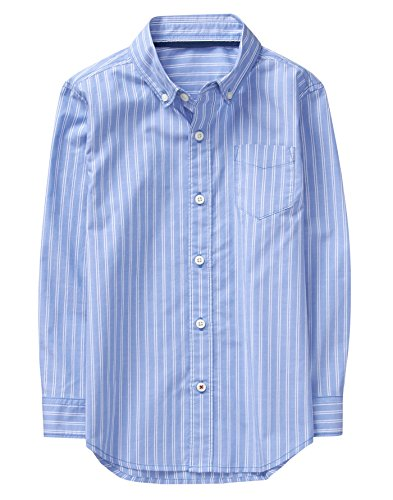 Crazy 8 Little Boys' Long Sleeve Pocket Button up Shirt, Light Blue Stripe, L