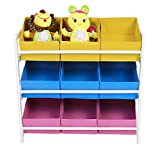 Utheing 9 Bins Kids Children Toy Bin Storage Organizer Box Rack, Wooden Frame, for Kids Bedroom Playroom
