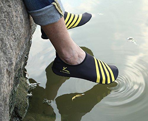 Cevinee ™ (update-versie) Instapschoenen Voor Water, Antislip Aqua-sokken, Ademend Strand Swim Surf Yoga Outdoor Zachte Schoenen Gele Streep